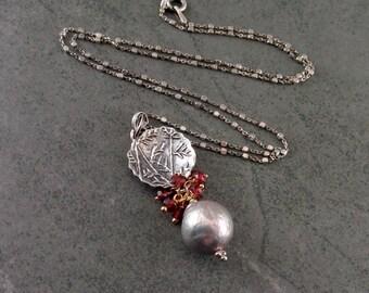 Garnet & pearl pendant, handmade sterling silver, 14k gold filled mixed metal necklace w/ silver wrinkle pearls-OOAK June birthstone