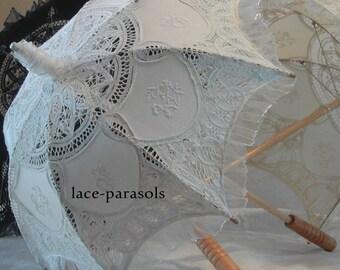 SMALL White Lace Parasol w/Organza Lace
