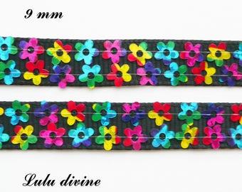 2 black grosgrain Ribbon lines multicolor flower 9 mm sold by 50 cm