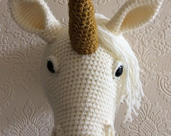 Unicorn Faux Taxidermy Crochet PDF Pattern