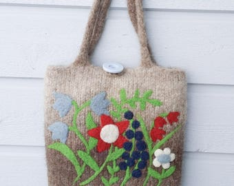Felted bag purse light brown wool hand knit needle colorful felted flowers