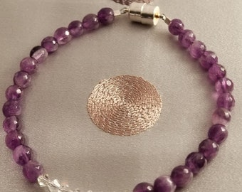 Amethyst and Crystal Love Affair!  What a Great Pairing!  This elegant yet casual enough bracelet could be a part of any ensemble.