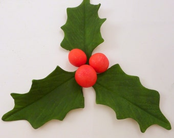 Sugar holly cupcake toppers, gumpaste holly, holly and berries, Christmas cupcake toppers