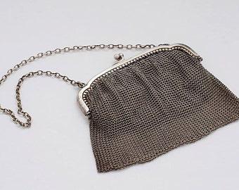 Kid lined silver purse, hallmarked London 1918