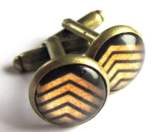 Cufflinks Black And Gold Glass And Brass Chevron Striped Mens Jewelry