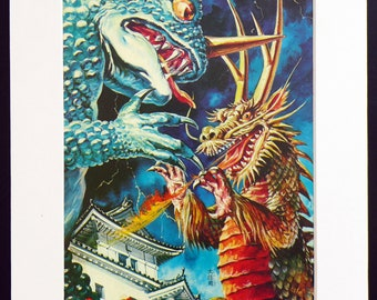 Japanese Monster KAIJU vintage print from 1960s, Ogama and Daikairyu , part of the Godzilla series