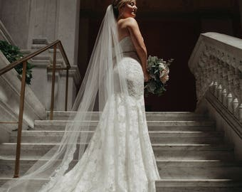 Lace Cathedral Veil, Ivory Veil, Cathedral Bridal Veil, Cathedral Wedding Veil - Chapel Length Veil Ivory Cathedral Veil Cathedral Lace Veil