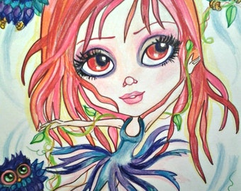 Dare to Fly Owl Bigeye Girl Fantasy Art Print by Leslie Mehl Art