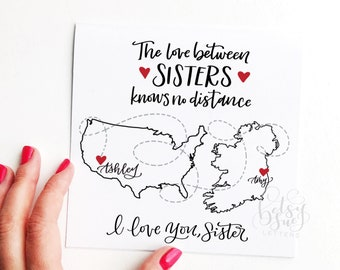 Custom card/ handmade card/ sister card/ sister birthday card/ bespoke card/ distance card/ map card