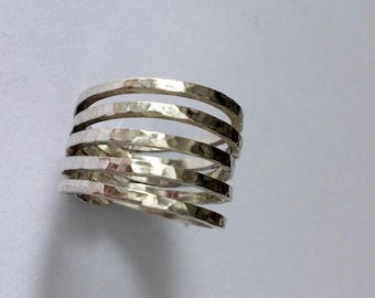 sterling silver  five bands ring