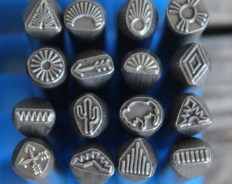 Southwest Metal Design Stamp- 3/8 in.-8mm (approx) image-Metal or Leather Stamping Tool-Stamp Metal with New Design Metal Supply