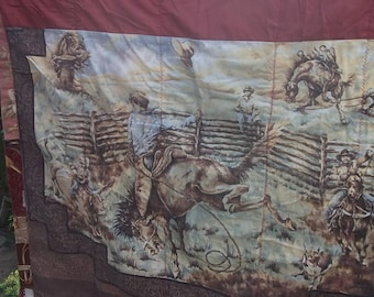 Cowboy Western Scene Hand Crafted Throw/ Wall hanging