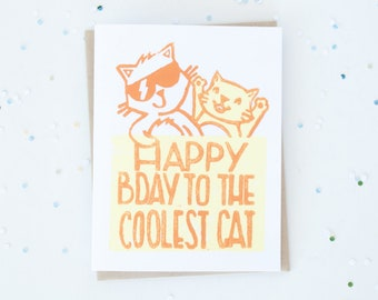 Happy Birthday Cat Card, Funny Cat Puns, Birthday Greeting Cards, Cat in Sunglasses, Lino Cut Card, Block Printed Card