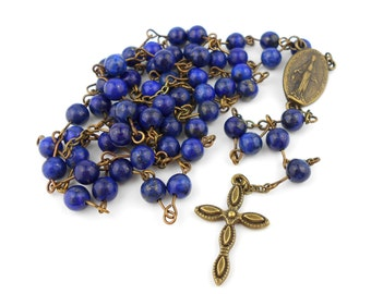 Lapis Lazuli Rosary with Miraculous Medal centrepiece