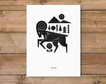 Aries Letterpress Print