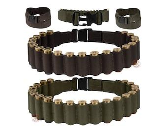 Shotgun Shell Belt Pouch 12 ga Leather Bandolier Cartridge Ammo Case