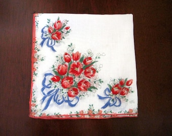 Mothers Day Handkerchief 1950s Red Roses with Blue Bows & Ribbons on White, Vintage Hanky, Chic Neckwear, Gift for Her