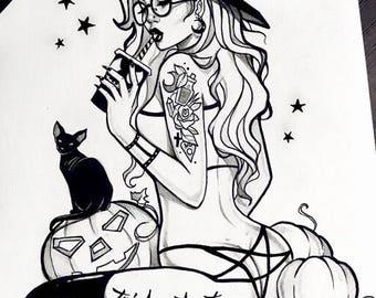 Baddest witch in town halloween occult witchy cats wicca samhain pumpkin gothic fantasy dark goth artprint