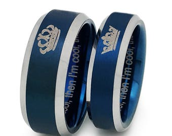 8mm/6mm King and Queen Rings, His and Hers Personalized Custom Engrave Tungsten Rings, Couples Ring sets, Anniversary Ring