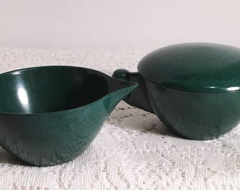 Melmac Color Flyte by Branchell Retro Creamer and Lidded Sugar Bowl Forest Green MCM