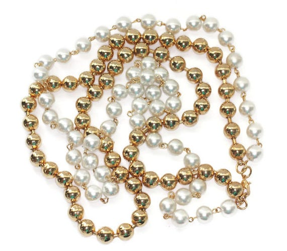 Simulated Pearl and Gold Tone Bead Necklace Two Strand Longer Length Vintage