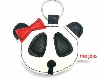 Handmade keychain, recycled, leather keychain,leather keyring, panda keychain, panda keyring,adornment gift. FREE SHIPPING UK
