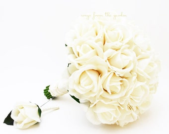 Ivory Real Touch Roses Bridal Bouquet Groom's Boutonniere - Customize For Your Wedding Colors