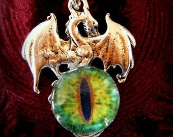 Dragon Jewelry, Dragon Charm, Gothic, Gothic Jewelry, Steampunk Jewelry, Fantasy Jewelry, Dragon's Eye Necklace