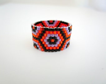 Peyote Ring  /  Beaded Ring in Orange, Black and Violet / Seed Bead Ring / Delica Ring / Beadwork Ring / Beadwoven Ring / Handmade Ring