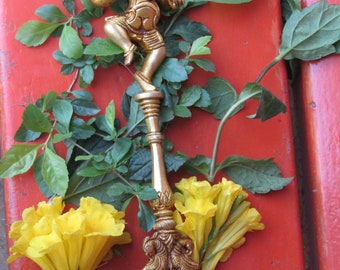 Brass Aachman with Hindu God Ganesha in dancing pose on top, Traditional Brass Aachman exclusively designed