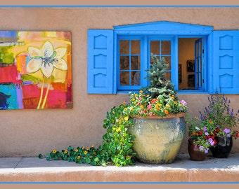 Southwest Decor, Santa Fe Photo, Blue Window Print, Southwest Photo Art, Blue Window Shutters, Window Art Print,Window Photo Art, Periwinkle