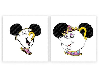 Disney, Mrs. Potts, Chip, Beauty and The Beast, Mickey, Minnie, Mouse Ears, Digital, Download, TShirt, Cut File, SVG, Iron on, Transfer