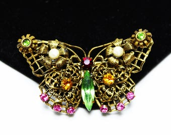 Gold Tone Filigree & Rhinestone Butterfly Pin - Pink, Dark Yellow, Green, Red -Multi colored Rhinestones and Faux Pearl Beads Vintage 1960's