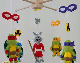 baby mobile, TMNT baby mobile, TMNT crib mobile, TMNT nursery, ninja turtles, ninja nursery, baby mobile, bebidekor