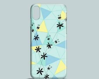 Florals and Shapes mobile phone case, iPhone X, iPhone 8, iPhone 7, iPhone SE, iPhone 6S, iPhone 6, iPhone 5/5S, spring floral phone case