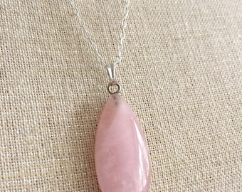 Rose Quartz Tear Drop Pendant & Sterling Silver Chain