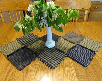 Country Table Runner, Homespun Candle Mat, Rag Quilt Table Runner, Center Piece, Table Runner, Homespun Table Runner, Patchwork Table Runner