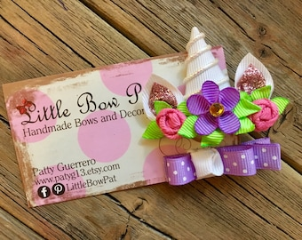 Unicorn Horn with Flowers... Ribbon Sculpture Hair Bow Set