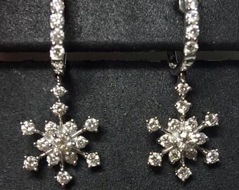 diamond snowflake dangling earrings, diamond earrings