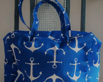 Large Wet Bag Tote Beach Bag Blue Anchors Print...The Tate Collection