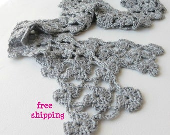 Neck scarf, Silver scarf, Mothers day gift, Scarf women, Floral knit scarf, Skinny scarf, Spring, Crochet flower scarf, Crochet lace scarf.