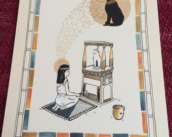 Egyptian Cat - A5 Postcard
