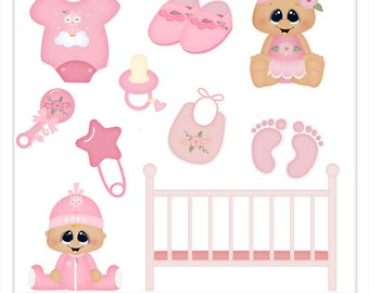 DIGITAL SCRAPBOOKING CLIPART - Baby Girl