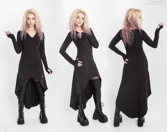 "Dress ""Virgo"" with asymmetric cut and sleeves with gloves, Платье ""Virgo"" ассиметричного кроя с рукавами-перчатками"