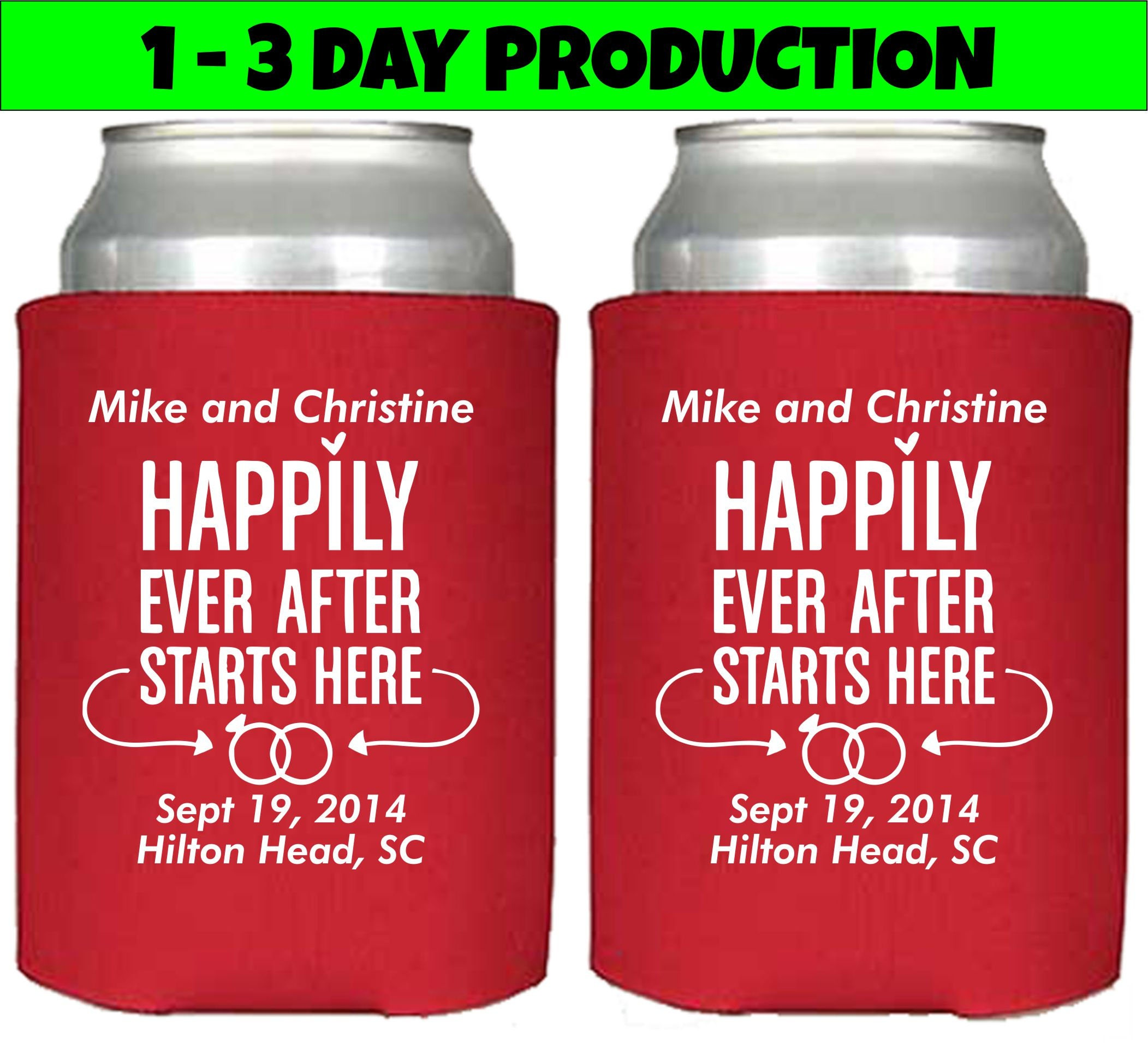 Personalized Can Cooler Wedding Favors Happily Ever After