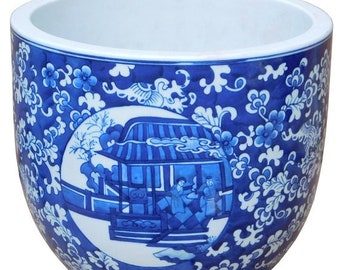 30%OFF SALE Chinese Blue White Oriental People Theme Ceramic Pot Planter cs2174E