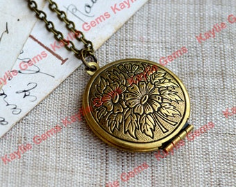 Cherry Blossom Round Lockets Pendant Necklace