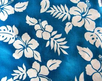 NEW!!! Hawaiian Print Rich Medium Blue with White Hibiscus Flowers