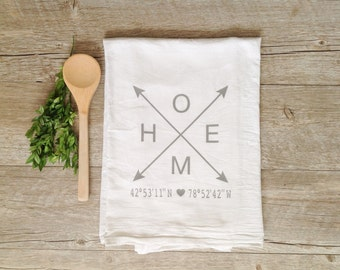 Tea Towel - Customized Tea Towel Customized Coordinates Home Towel Personalized Kitchen Towel Home Decor Home Towel Kitchen Decor