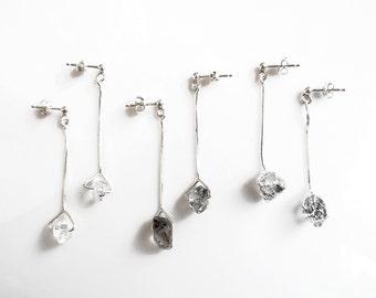 Herkimer Diamond Earrings, Sterling Silver Drop Earrings, Herkimer Crystal Earrings